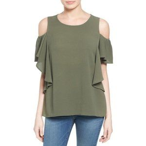 Cold Shoulder Ruffle Sleeve Top In Olive Sarma